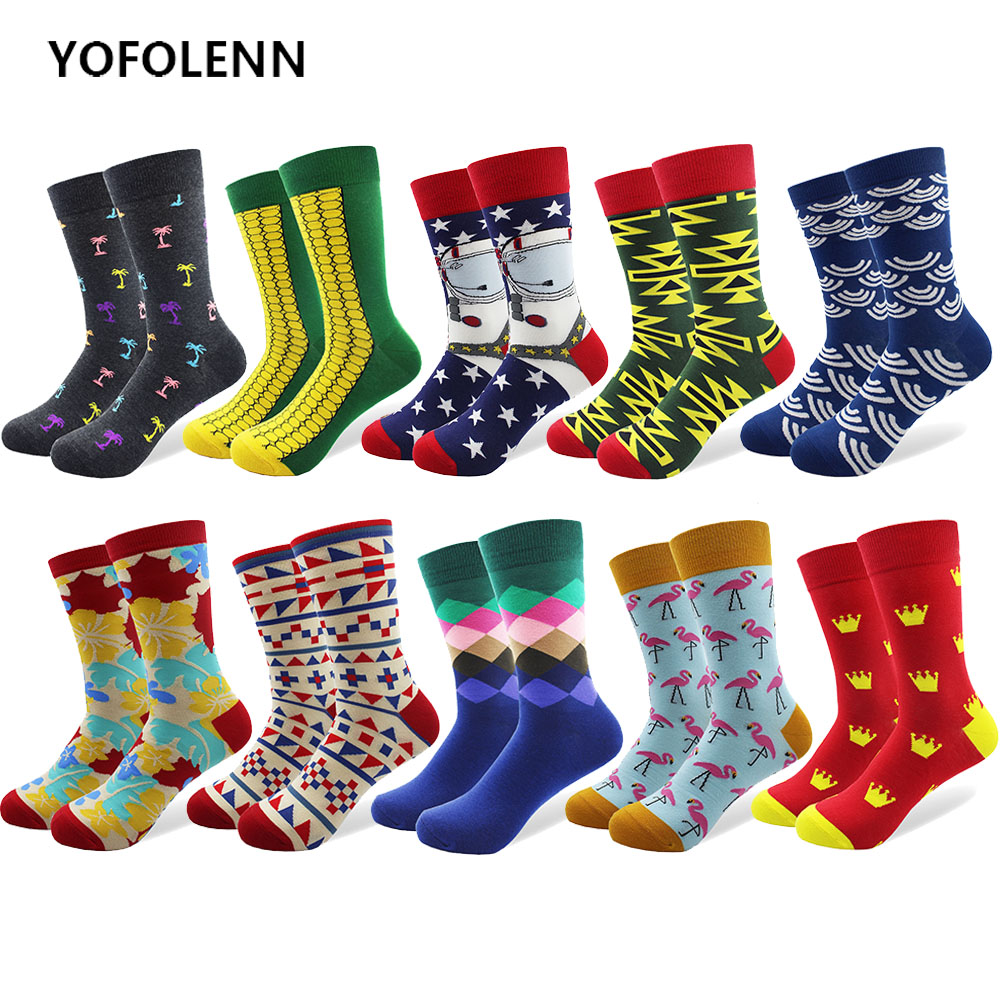 10 Pair/lot Funny Pattern Bright Colorful Men Happy Socks Argyle Oil painting Dot Striped Space Man Cotton Crew Socks Crazy