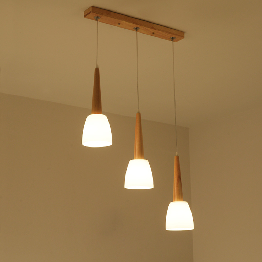 Japanese Wood Dining Room Pendant Lamps Glass Horn Restaurant Pendant Lamp Simple design Bar Counter Pendant Lighting Fixtures