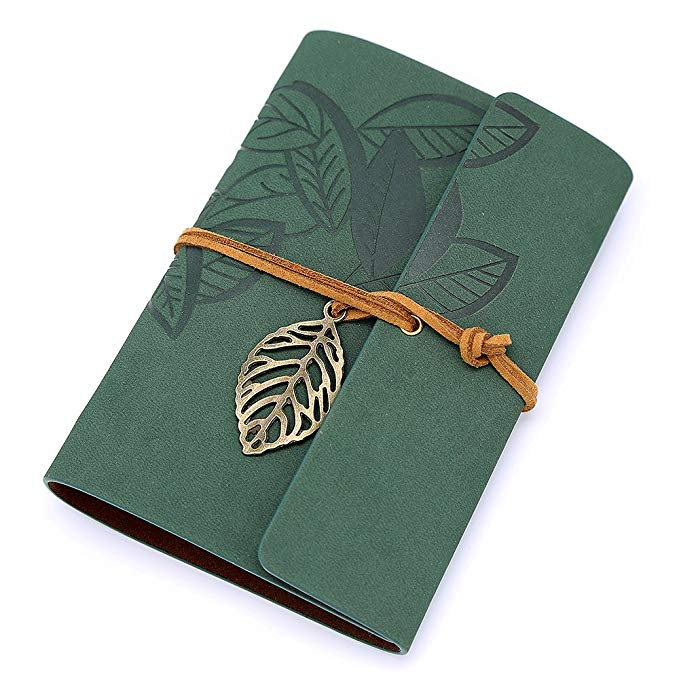 <font><b>A5</b></font> Leather Journal Vintage Spiral Bound <font><b>Notebook</b></font> Refillable Dairy Sketchbook <font><b>Travel</b></font> Journal Gift Cover Loose Leaf Blank pages image