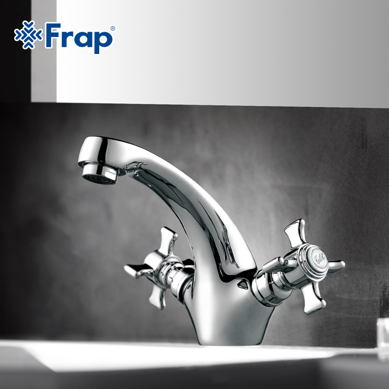 Frap Mixer Faucets Brass Home Bathroom Basin Faucet Dual Handle Cold-Hot Water Taps Deck Mounted Robinet Torneiras Chrome FP1024 bathroom golden dual handle taps washbasin sink faucets hot and cold water mixer faucet