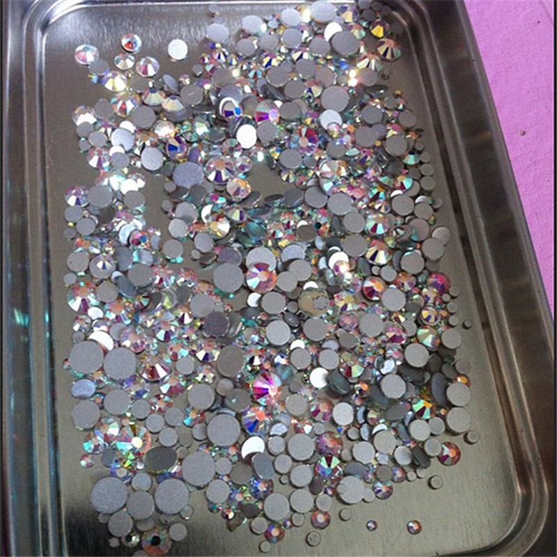 High quality 1000PCS Mix Sizes Crystal Clear AB Non Hotfix Flatback Nail Rhinestones For Nails 3D Nail Art Decoration Gems in Rhinestones Decorations from Beauty Health