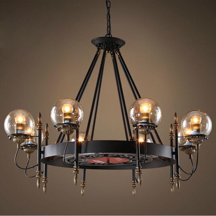 Retro Pendant Light Black Wrought Iron Amber Gl Modo Lamp Shade Vintage Loft Industry Lighting Fixture Led E27 In Lights From