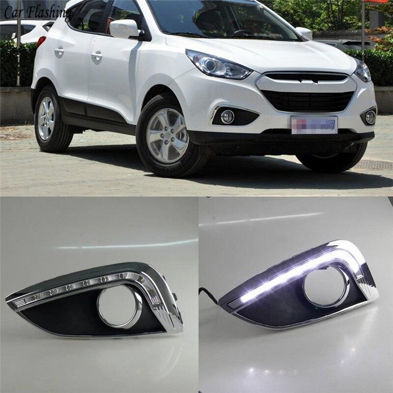 Car Flashing 2PCS Car LED fog lamp cover DRL Daytime Running Lights headlight 12V Daylight For