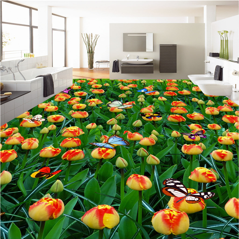 beibehang papel de parede para quarto Customize any size fresco tulip flower sea flowers 3D floor tiles wallpaper for walls 3 d beibehang beautiful rose sea living room 3d flooring tiles papel de parede para quarto photo wall mural wallpaper roll walls 3d
