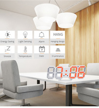 3D LED Wall Clock Modern Digital Alarm Clock Night Light Saat