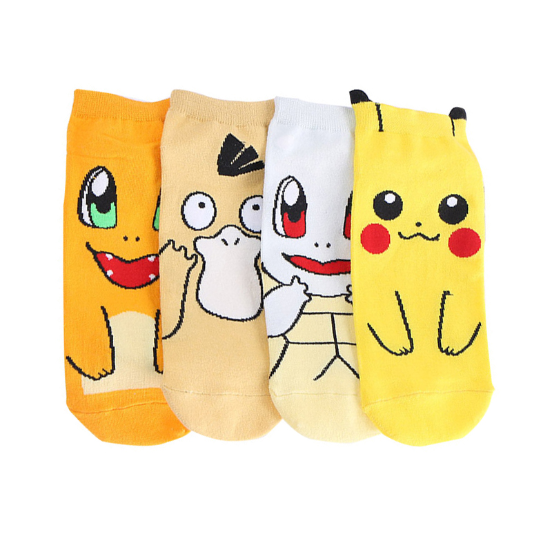 Anime Pokemon Ankle Socks Kawaii Japanese Cartoon Pikachu Nintendo Cosplay Women's Cotton Socks