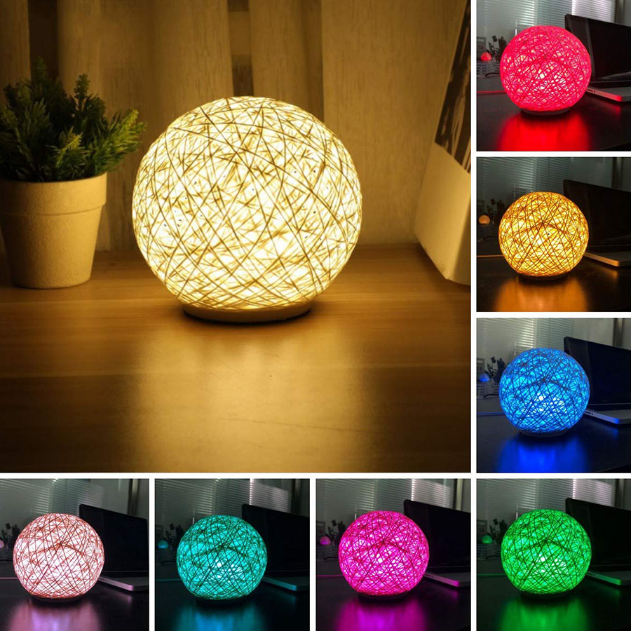 3D 15CM Colorful USB Rechargeable Rattan Balls LED Night Light Touch Bedside Table Desk Lamp for Home Christmas Gift Decoration