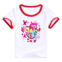 New Arrival My Little horse Girls Lycra cotton kids baby short-sleeved T-shirt purple clothes cartoon Ponies top tees