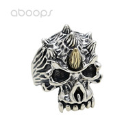 Gothic 925 Sterling Silver Skull Open Ring with Horns for Men Boys Adjustable Free Shipping