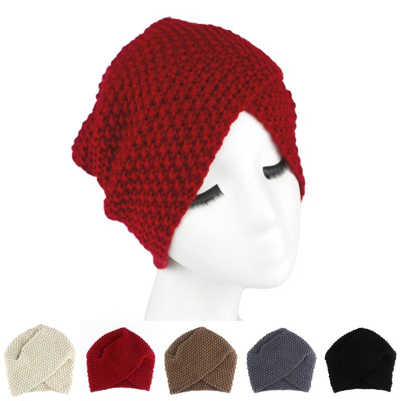2016 Luxury Divas Winter Knit Women Turban Beanie Hat Twist Hijab Turbante king divas