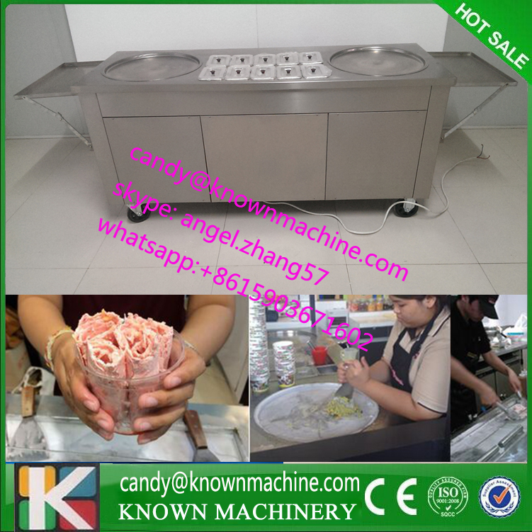 2 round pan Fried Roll ice cream rolls machine in Thailand Street Food with 10 bucket stainless steel thai Ice Cream rolls sinbo svc 3465 black