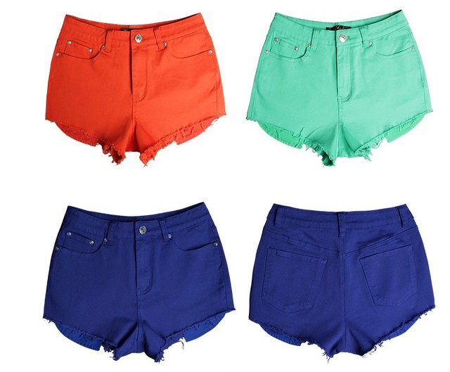 Denim Shorts For Women Fashionable Modern Candy Colours Ripped High Waist Sexy