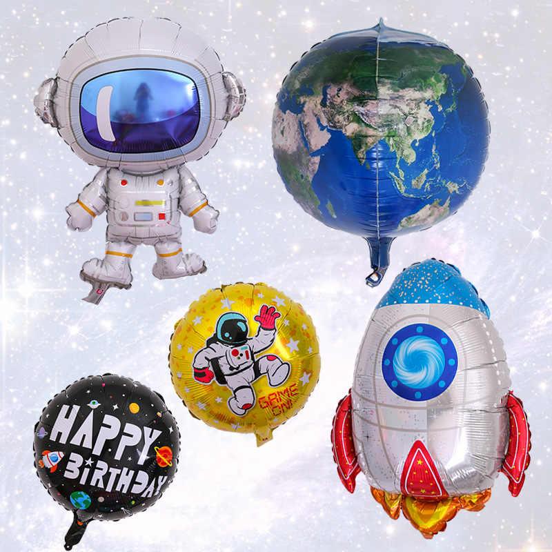 นักบินอวกาศรูปลูกโป่งของเล่นด้านนอก Space Rocket Foil บอลลูนเด็กวันเกิด Galaxy Theme Decor ของขวัญของเล่นเด็ก