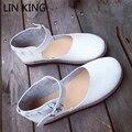 LIN REI Fivela Apartamentos Sapatos Das Mulheres Do Vintage Sapatos Casuais Sólidos doce Lolita Sapatos de Sola Grossa com Tira No Tornozelo Dedo Do Pé Redondo sapatos Único sapatos