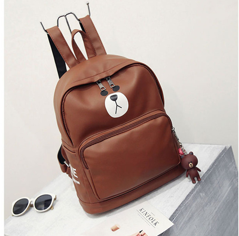 ZOQW Soft PU Leather Backpack Cute Brown Bear Bagpack Waterproof Backpack  Women Preppy Style School Bags Travel Backpacks WXF031-in Backpacks from  Luggage ... 5c218dab95