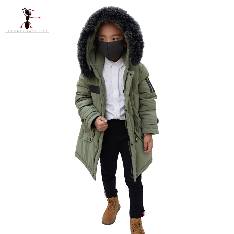 Kung Fu 2017 Down Coat for Boys Fur Hooded Pockets Winter Warm Long Jackets Parkas Children Clothes Belt Army Purple GS886 womens parkas with fur hoods winter warm long denim jeans velvet hooded long ladies wool coat jacket 2017 plus size blue clothes