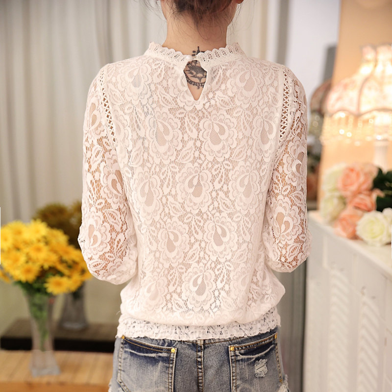 2018 New autumn Ladies White Blusas Women's Long Sleeve Chiffon Lace Crochet Tops Blouses Women Clothing Feminine Blouse 51C 2