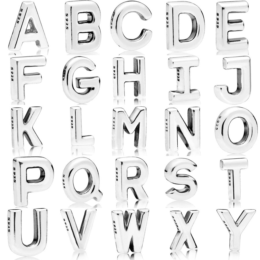 2018 New Authentic 925 Sterling Silver 26 Letters A-Z Petite Charm Fit Pandora  Necklace Photo Frames Charm DIY Jewelry