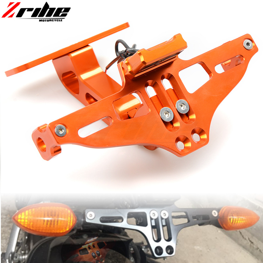 FOR KTM Duke RC 125 200 390 Enduro Supermoto SM SMC Adventure 690 950 Motorcycle Angle License Number Plate Frame Holder Bracket for ktm duke 125 200 390 rc 125 200 390 motorcycle cnc aluminum kickstand side stand enlarger support plate