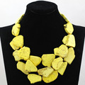Superior Yellow Chunky Statement Necklace Natural Turquoise Stone Bold Party Necklace Jewelry 5 Colors Free Shipping TN143
