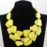 Superior Yellow Chunky Statement Necklace Natural Stone Stone Bold Party Necklace Jewelry 5 Colors Free Shipping TN143