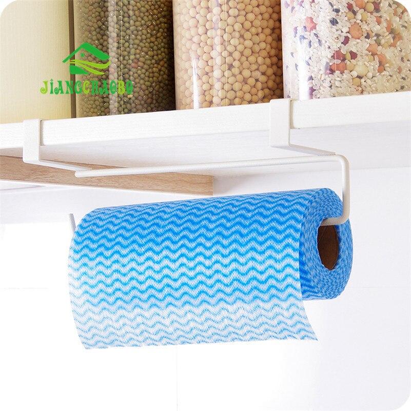 Iron Hook Type Kitchen Roll Paper Towel Holder Storage Rack Sundries Organizer Home Storage Tools Cabinet Cupboard Tissue Shelf