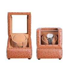 купить 2018 New Design Struthio Camelus Leather Style Watch Winder Case Japan Mabuchi Motor Box EU/US/UK/AU Plug Storage Display Boxes по цене 8453.25 рублей