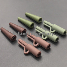 80pcs Carp fishing safety clips with tail rubber tube Brown Matte green ABS Plastic Carp Rigs Connector Carp Fishing Accessories