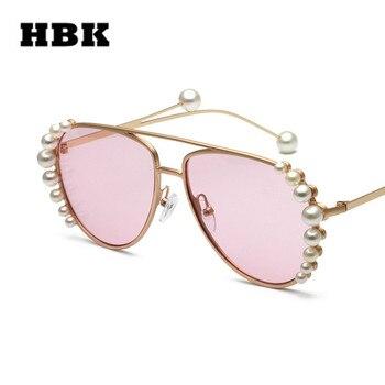 HBK роскошные женские солнцезащитные очки-авиаторы 2019 новый модный бренд Жемчужное Украшение Солнцезащитные очки металлические оправы очко... >> HBK Official Store