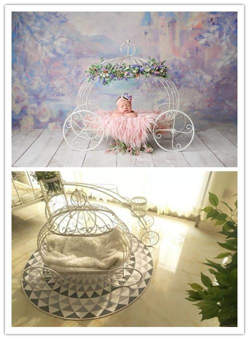 Newborn Photography Props Baby Studio Shot Props Little Bed Princess Bed White Elegant Iron Art Pumpkin Cart