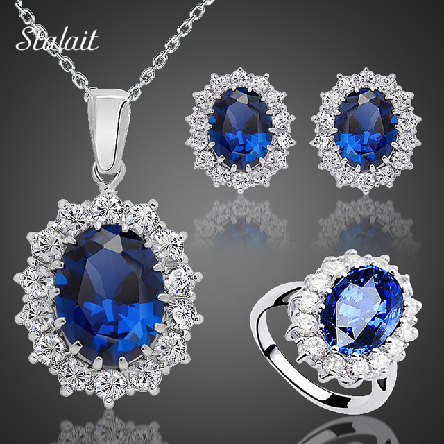 Fashion Blue Crystal Stone Wedding Jewelry Sets For Brides Silver Color Necklace