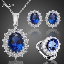 Wedding-Jewelry-Sets Necklace-Set Crystal-Stone Brides Silver-Color Blue Fashion Women