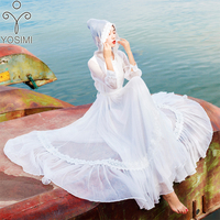 YOSIMI 2019 Summer Maxi Chiffon Long Women Dress Elegant White Fairy Evening Party Dress Lace Hooded Red Vestidos Ankle Length