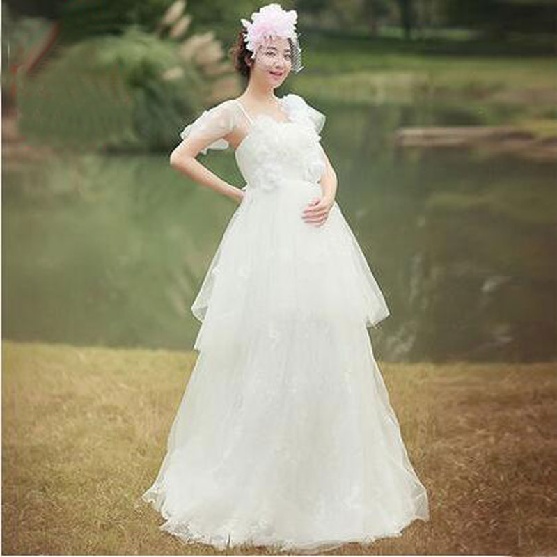 ФОТО Pregnancy Bride Dress Shoulder Waist Back Floating Tail Wedding Maternity Photography Props Clothes For Pregnant Women
