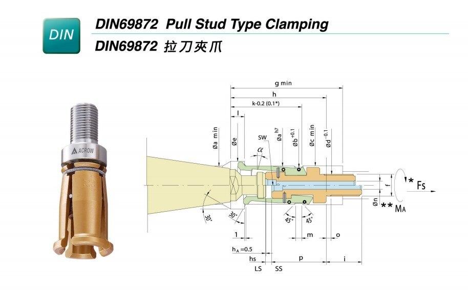 DIN40 4 лепестка зажим для ЧПУ шпинделя фрезерный станок с внешний винт высокого качества аксессуары для центров обработки