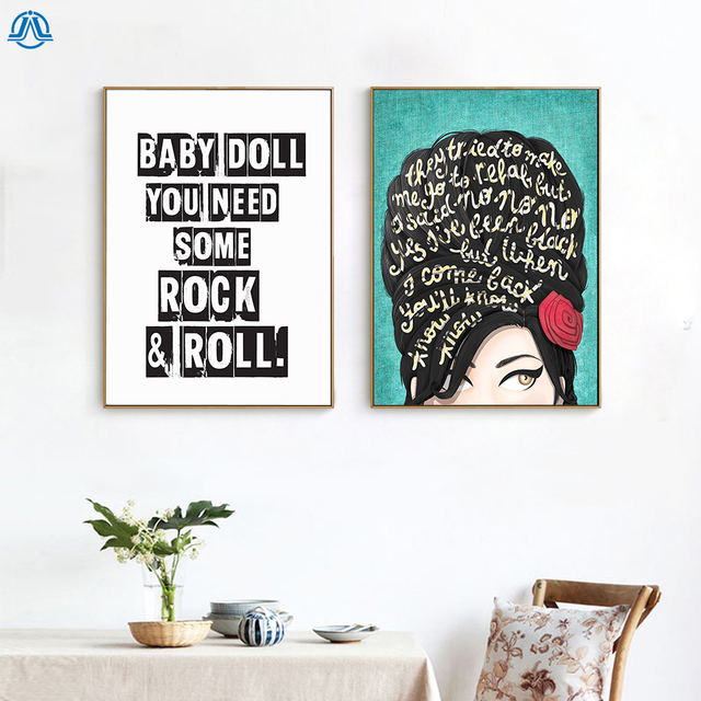 Us 4 72 18 Off Modern Girl Wifi Portrait Posters And Prints Simple Canvas Painting Quotes Baby Doll Wall Pictures For Living Room Home Decor In