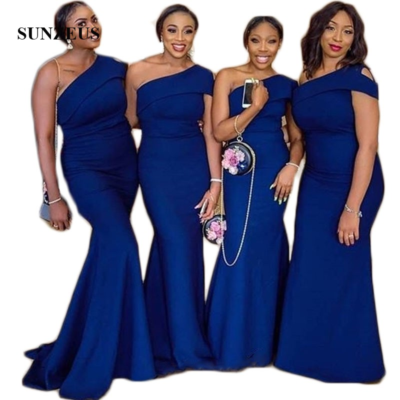 Royal Blue Jersey Formal Dress For Women Sheath Bridesmaid