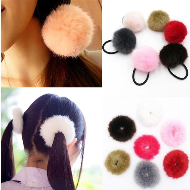 Korean Artificial Rabbit Fur Ball Cute Girls Ponytail Holders Elastic Hair Rope Ties Rubber Band Woman Hair Accessories Headwear