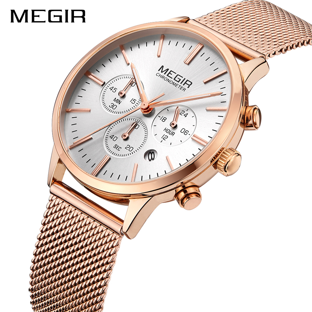 MEGIR Brand Luxury Fashion Ladies Watch Women Watches Thin Rose Gold Steel Mesh band Quartz Wristwatches Women relogio feminino