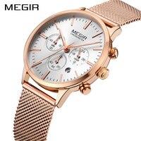 MEGIR Brand Luxury Fashion Ladies Watch Women Watches Thin Rose Gold Steel Mesh Band Quartz Wristwatches