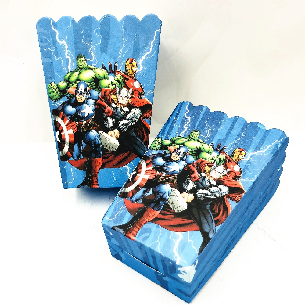 Avengers Themed Baby Shower Plastic Popcorn Tubs For Incredible Hulk 1st Birthday Party Decorations Supplies Popcorn Favor Boxes