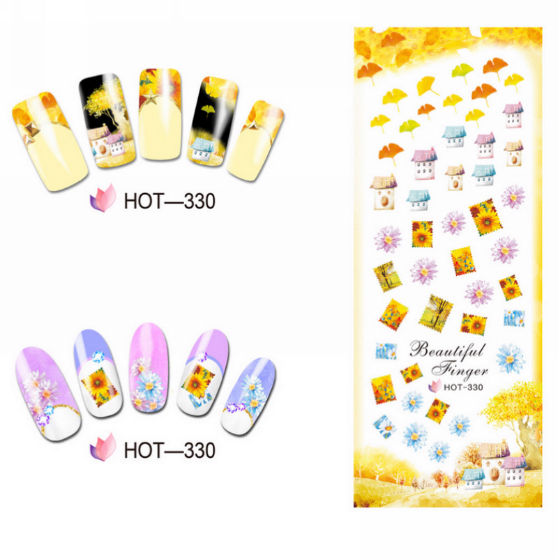 Image 4 - 3 PACKS / LOT GOLD AUTUMN MAPLE LEAF NAIL CROSS TATTOOS STICKER WATER DECAL NAIL ART HOT328 330-in Stickers & Decals from Beauty & Health