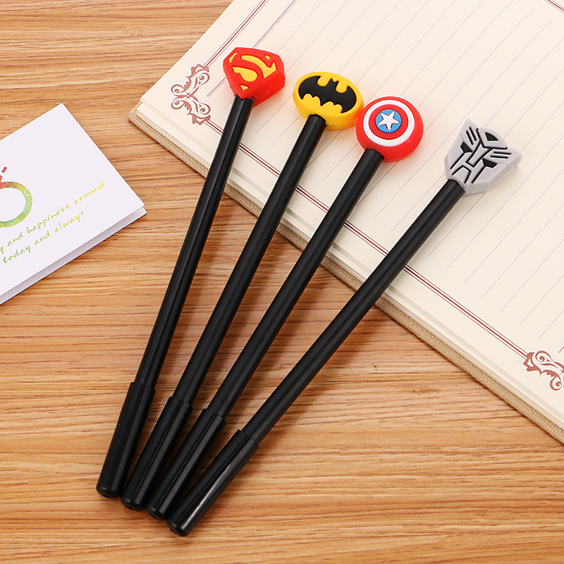 100 Pcs High Quality Soft Gel Neutral Pen Creative Stationery Student Black Ink Pen Hero League