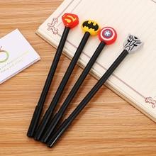 100 Pcs High Quality Soft Gel Neutral Pen Creative Stationery Student Black Ink Pen Hero League Full Needle Tube Signature Pen