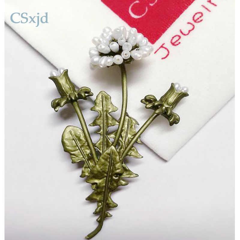 Dandelion CSxjd flowerses Antik mutiara Alami cabang bunga Busana Bros pin Syal Perhiasan