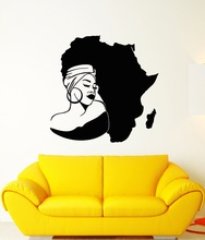 Vinyl Wall Decal Africa Continent Map African Girl Turban Stickers 2FZ12