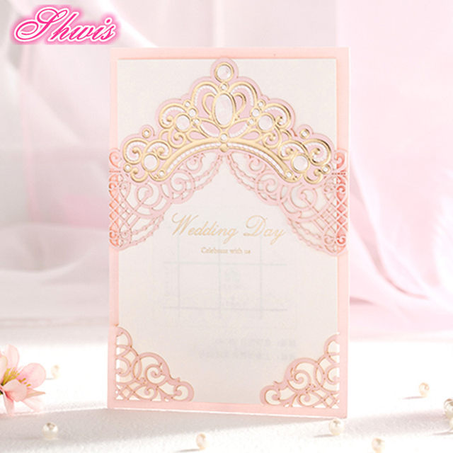 Online shop 10sets wedding invitations pink wedding invitation card 10sets wedding invitations pink wedding invitation card laser cut invitation cards with insert paper blank card envelope boda stopboris Image collections