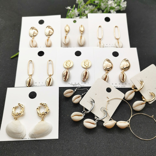 JCYMONG Sea Shell Earrings For Women Gold Silver Color Metal Shell Cowrie Statement 1
