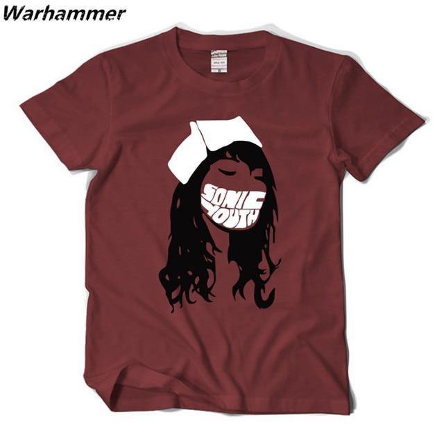 ac2487e27 Classic punk rock Sonic Youth Red Nurse T-shirts Hip Hop RAP team Tee  T-shirts cotton pattern Oneck club t-shrits quick shipping