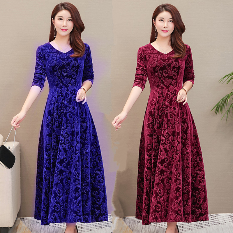 2018 Plus Size 3XL Women Autumn Winter Floral Dress Female V-Neck Long Maxi Velvet Dress Elegant Ladies Formal Party Dresses C80